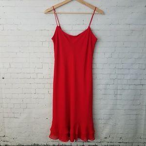 Ralph Lauren Red Slip Dress Size 8 Ruffle Lined